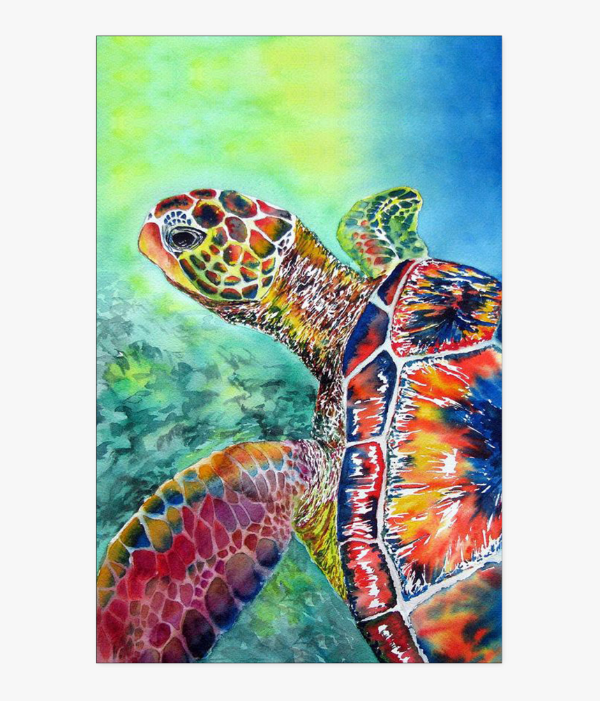 """Turtle Watercolor Poster""""  Class=""""lazyload Lazyload - Sea Turtle Canvas Painting, HD Png Download, Free Download"""