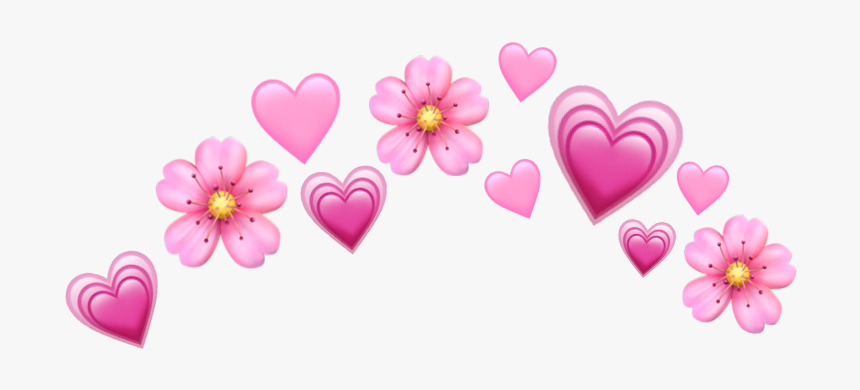 #heart #hearts #pink #pinkemoji #emoji #pinkheart #emojis - Flower Heart Crown Png, Transparent Png, Free Download