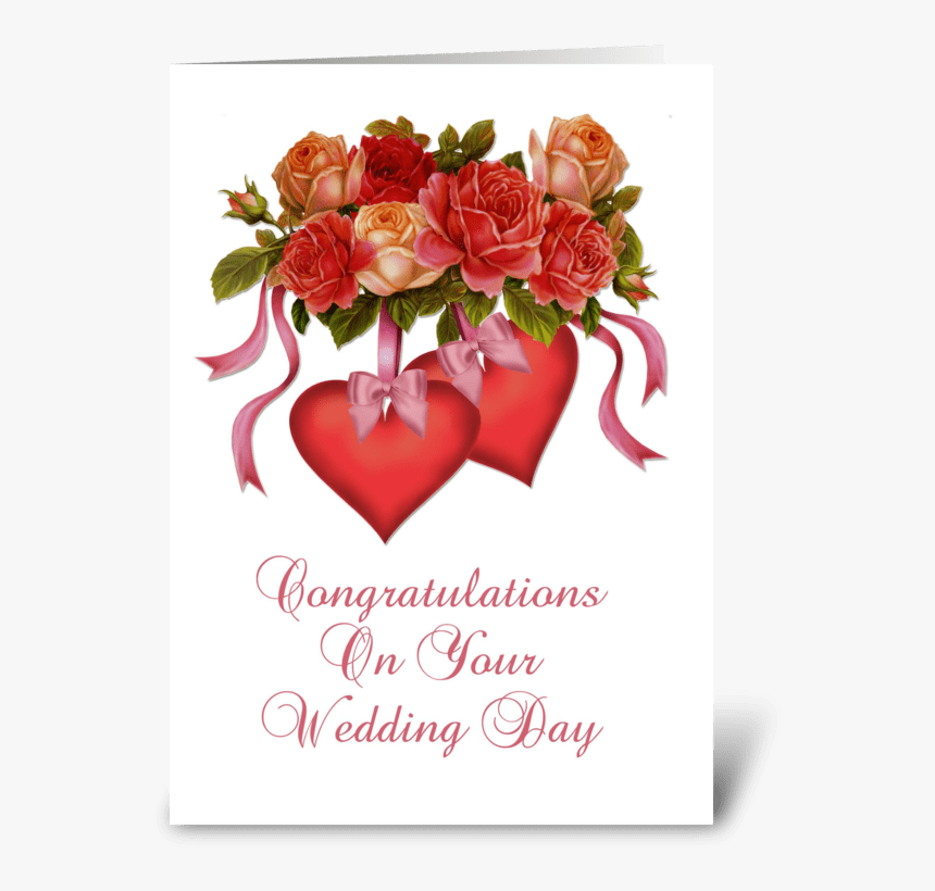 Hearts & Flowers Wedding Congratulations Greeting Card - Wedding Greetings Card Design, HD Png Download, Free Download