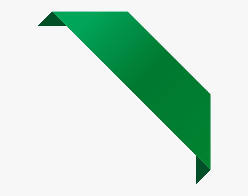 Corner Ribbon02 Dark Green - Green Corner Ribbon Png, Transparent Png, Free Download