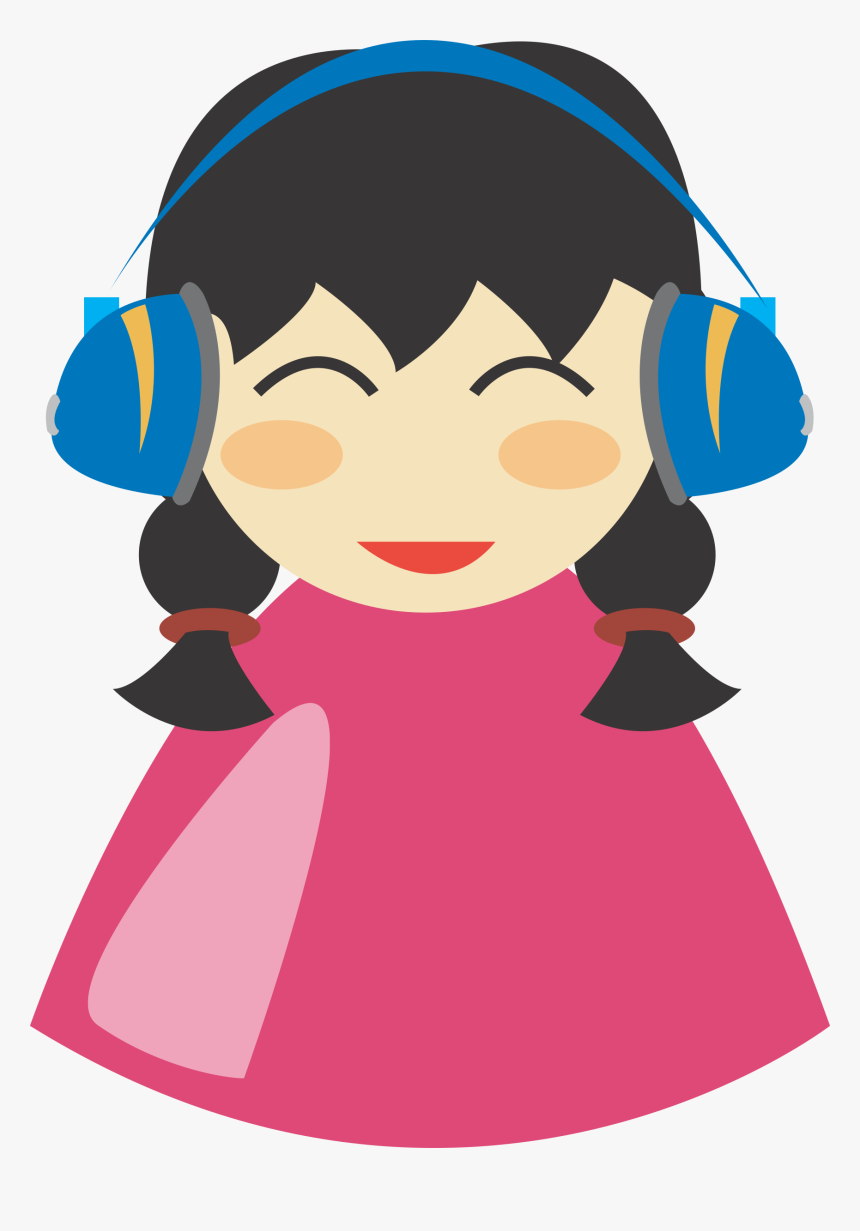 Girl With Headphone Clip Art At Clipart Library - Girl Headphones Clipart, HD Png Download, Free Download