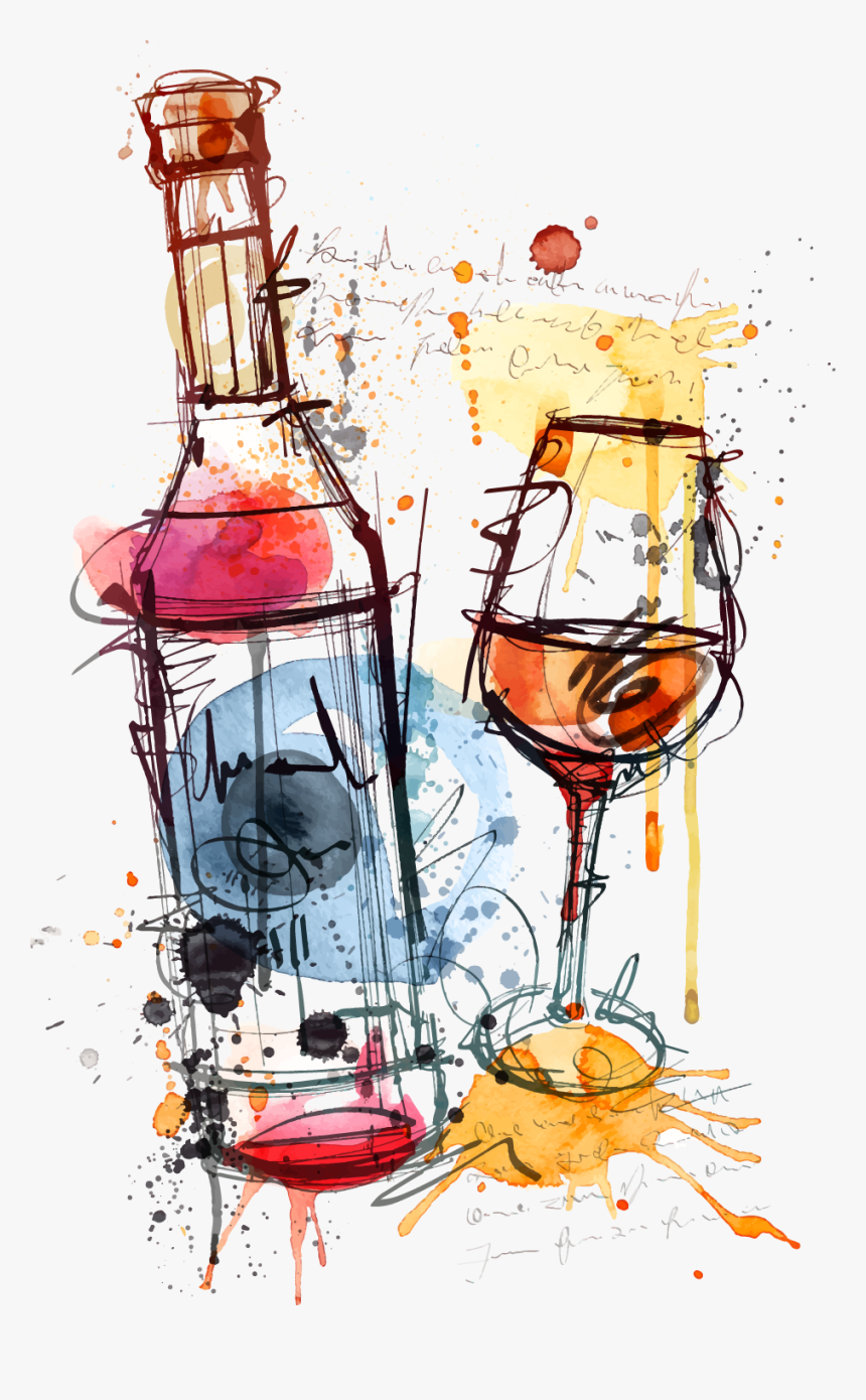 Red Wine Bottle Rosé Clip Art - Wine Bottle And Glass Art, HD Png Download, Free Download