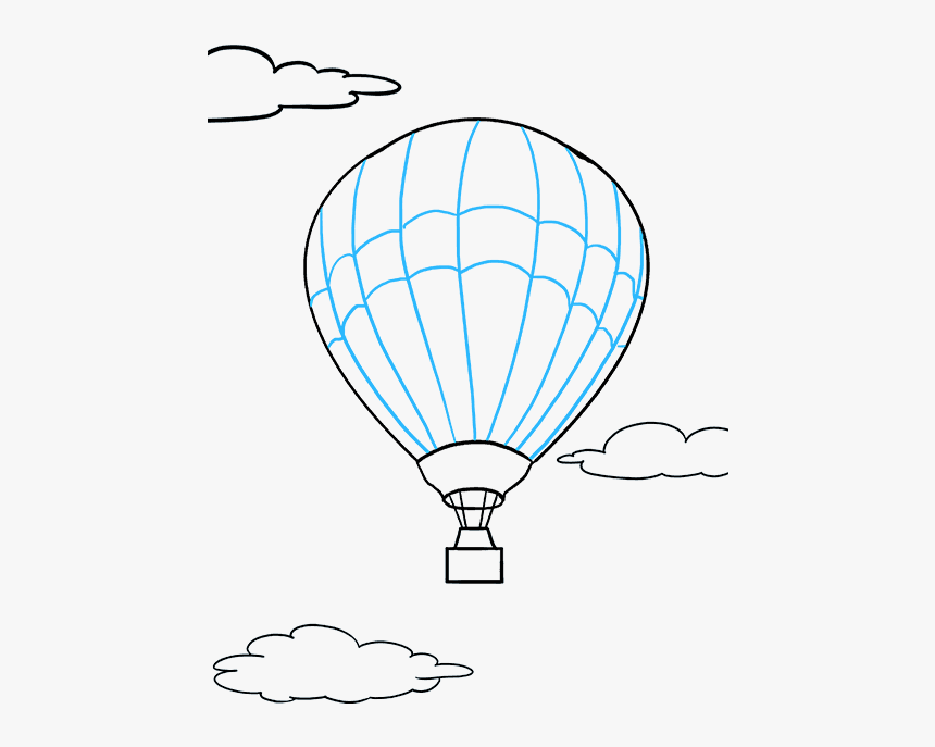 How To Draw Hot Air Balloon - Hot Air Balloon Simple Drawing, HD Png Download, Free Download