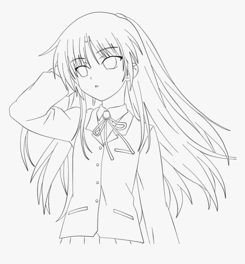 Anime Angel Girl Coloring Pages - Angel Beats Coloring Pages, HD Png  Download - kindpng