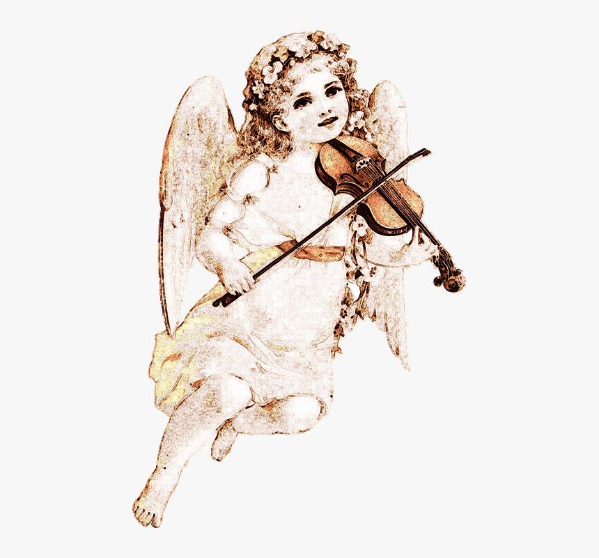 Angel, Drawing, Violin, Antique, Vintage, Romantic - Transparent Angel Png  Victorian, Png Download - kindpng