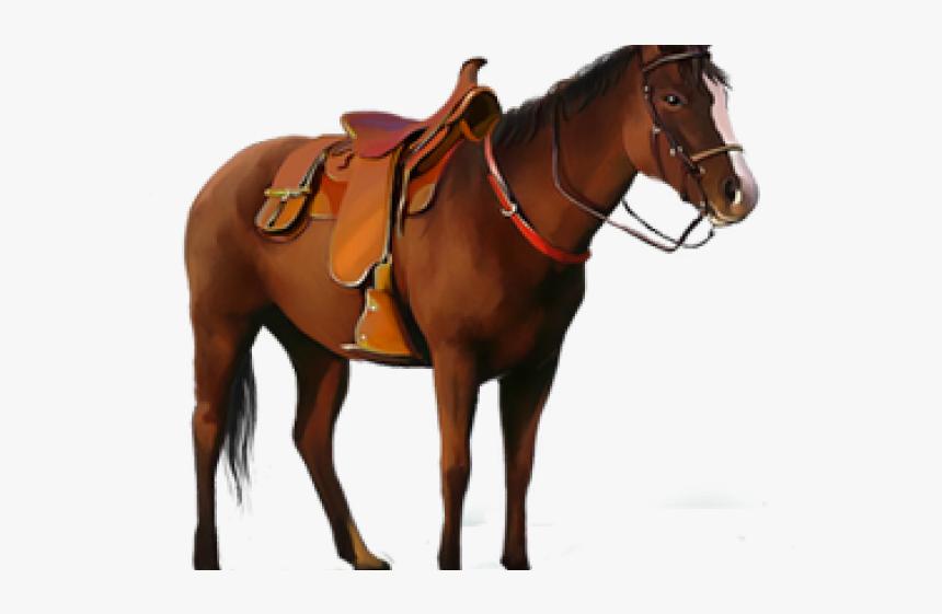 Saddle Clipart Saddled Horse - Horse With Saddle Png, Transparent Png, Free Download