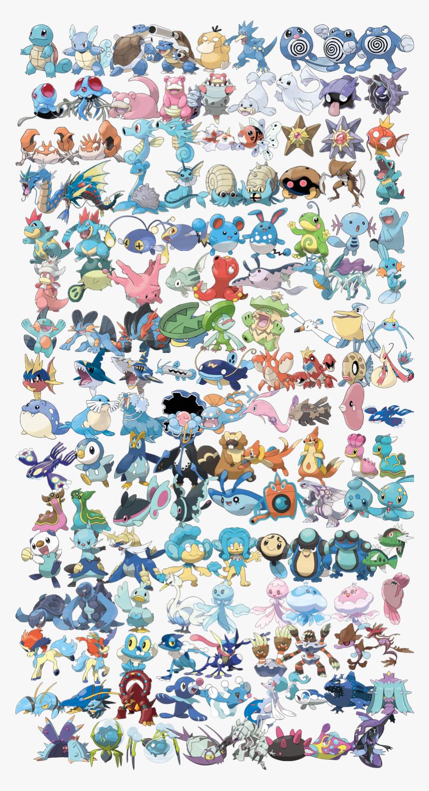 Image - Water Type Pokemon, HD Png Download, Free Download
