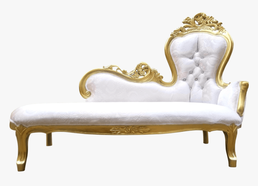 Gold & Ivory Velvet Chaise - Studio Couch, HD Png Download, Free Download
