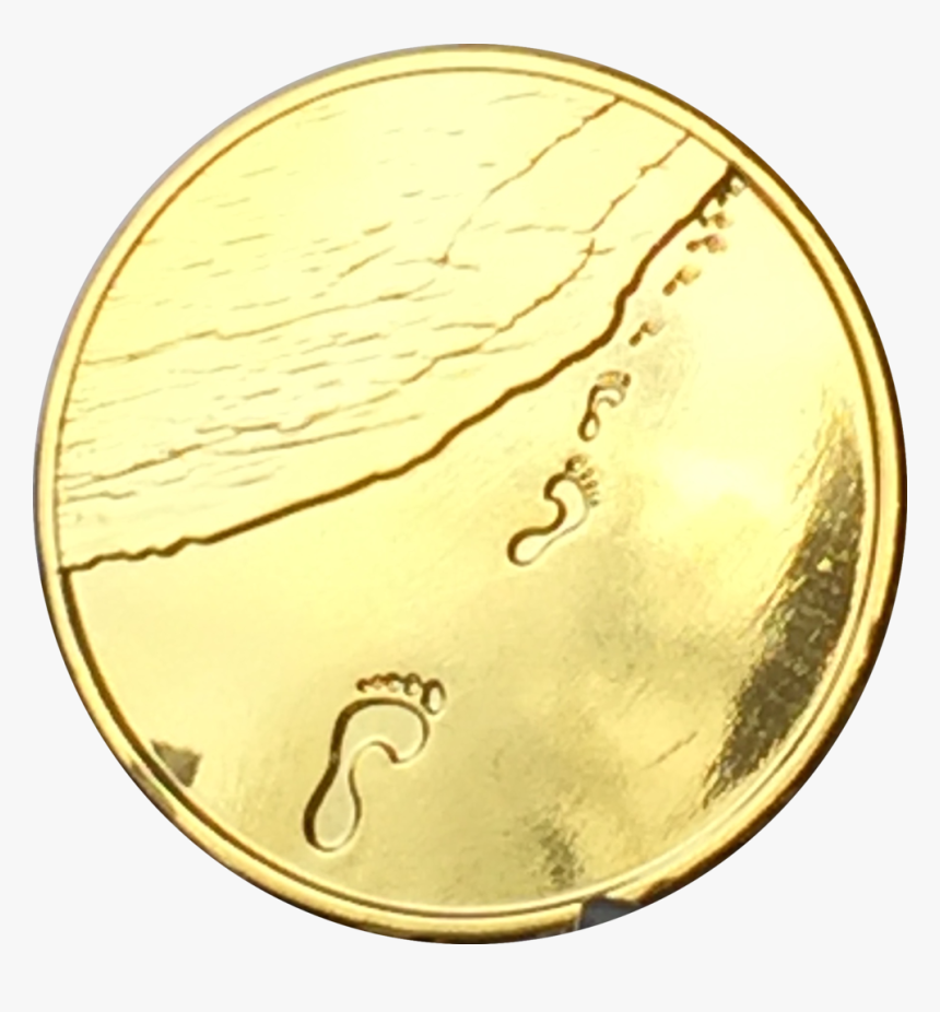 Footprints In The Sand Gold Plated Medallion Chip Pocket - Footprints In The Sand Gold, HD Png Download, Free Download