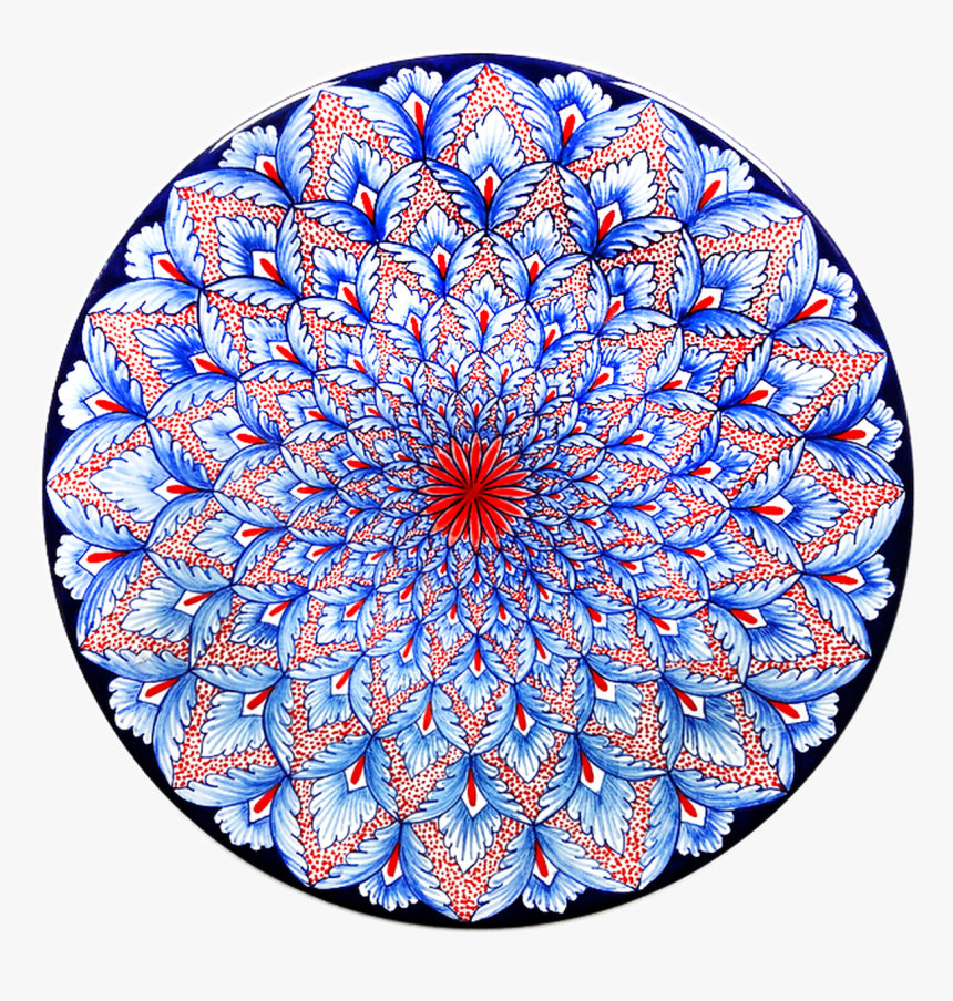 Peacock Feather Red & Blue Plate - Circle, HD Png Download, Free Download