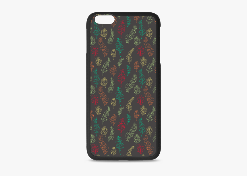 Green Orange Red Feather Leaves On Grey Rubber Case - Mobile Phone Case, HD Png Download, Free Download