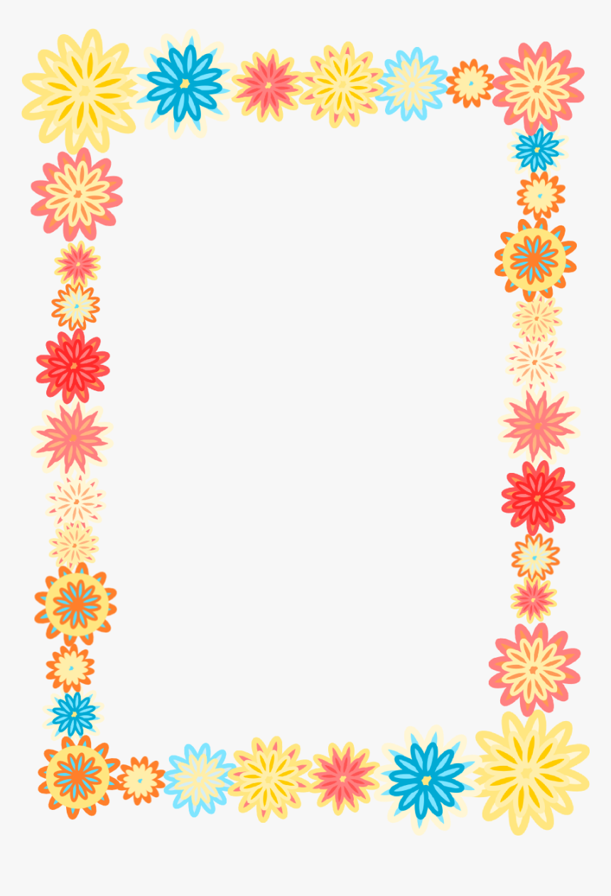 Png Borders And Frames Free Download - Colorful Floral Borders Png, Transparent Png, Free Download