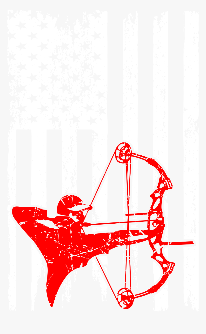 Bow Hunting Outdoors Usa Flag Pride Tshirt - Bow And Arrow, HD Png Download, Free Download