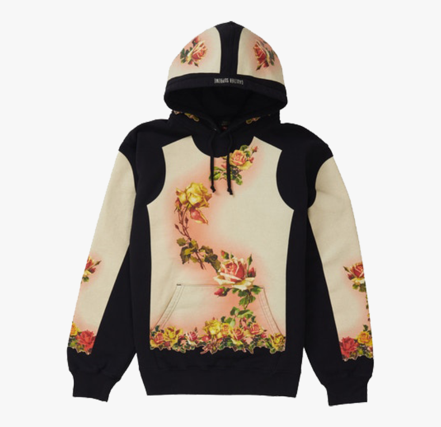 Supreme Jean Paul Gaultier Floral Print Hooded Sweatshirt - Supreme Jean Paul Gaultier Hoodie, HD Png Download, Free Download