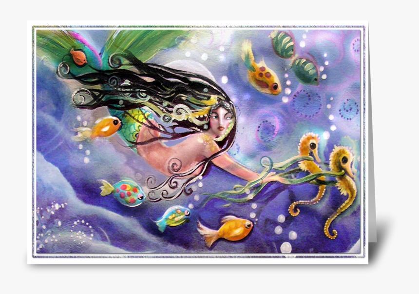Drifting Mermaid, Hello Greeting Card - Painting, HD Png Download, Free Download