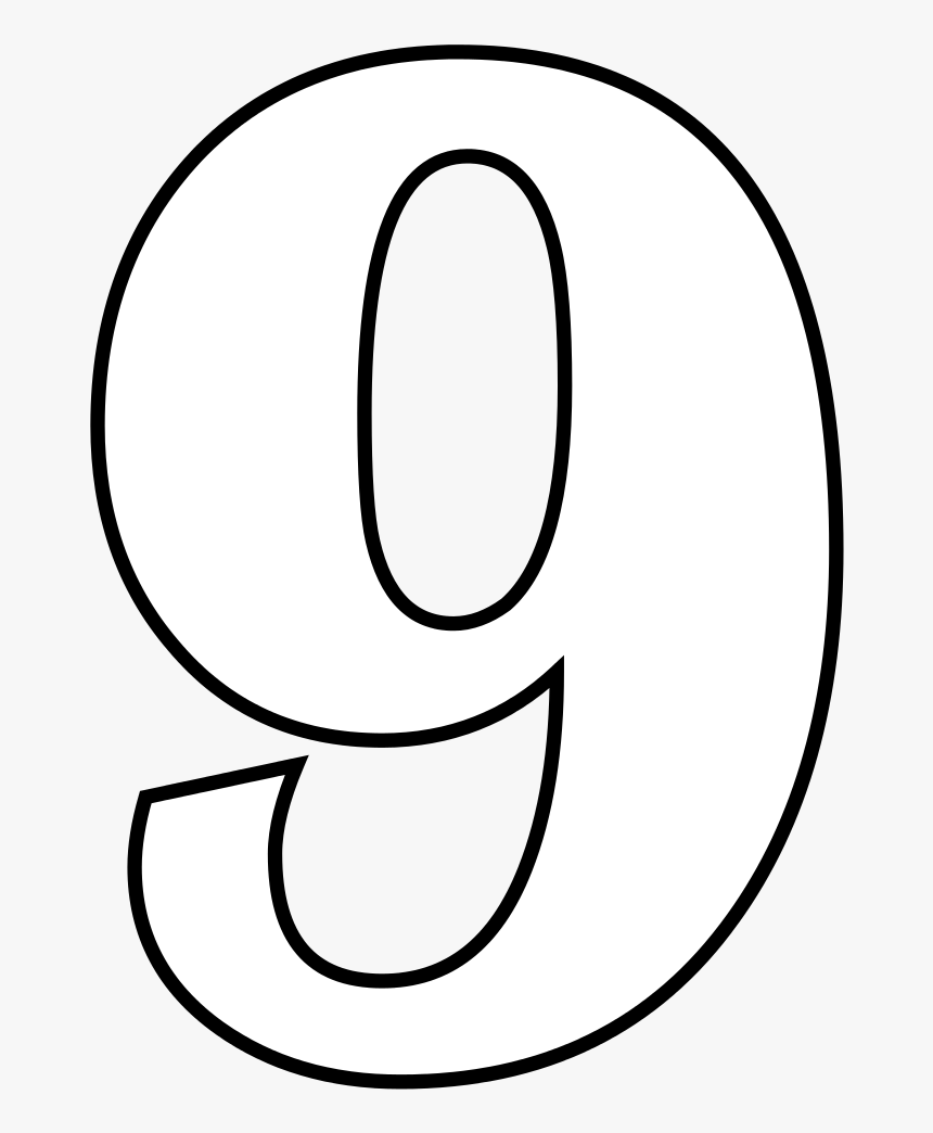 Nine Png Black And White Transparent Nine Black And - Drawing Of Number 9, Png Download, Free Download