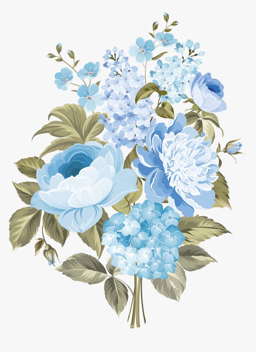 Clip Art My Design Blue Flowers - Blue Vintage Flowers Png, Transparent Png, Free Download