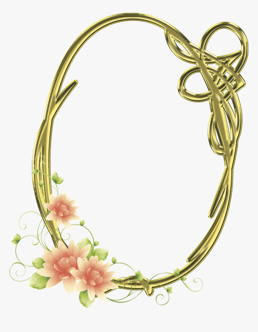 Frames Png Oval Com Flores Imagens Para Photoshop - Frame Flores, Transparent Png, Free Download