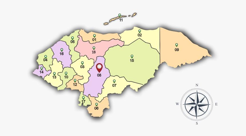 Mapa De Honduras Con Numeros, HD Png Download, Free Download