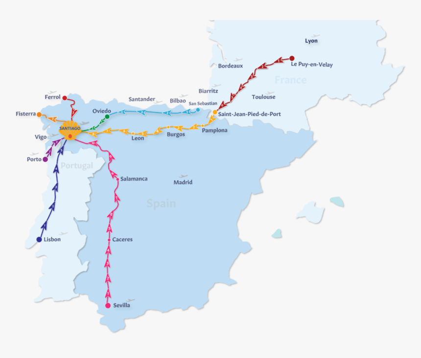 Camino De Santiago Routes - Route El Camino De Santiago Map, HD Png Download, Free Download