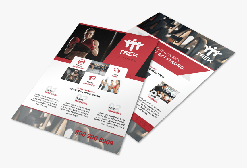 Red Fitness Club Flyer Template Preview - Flyer, HD Png Download, Free Download
