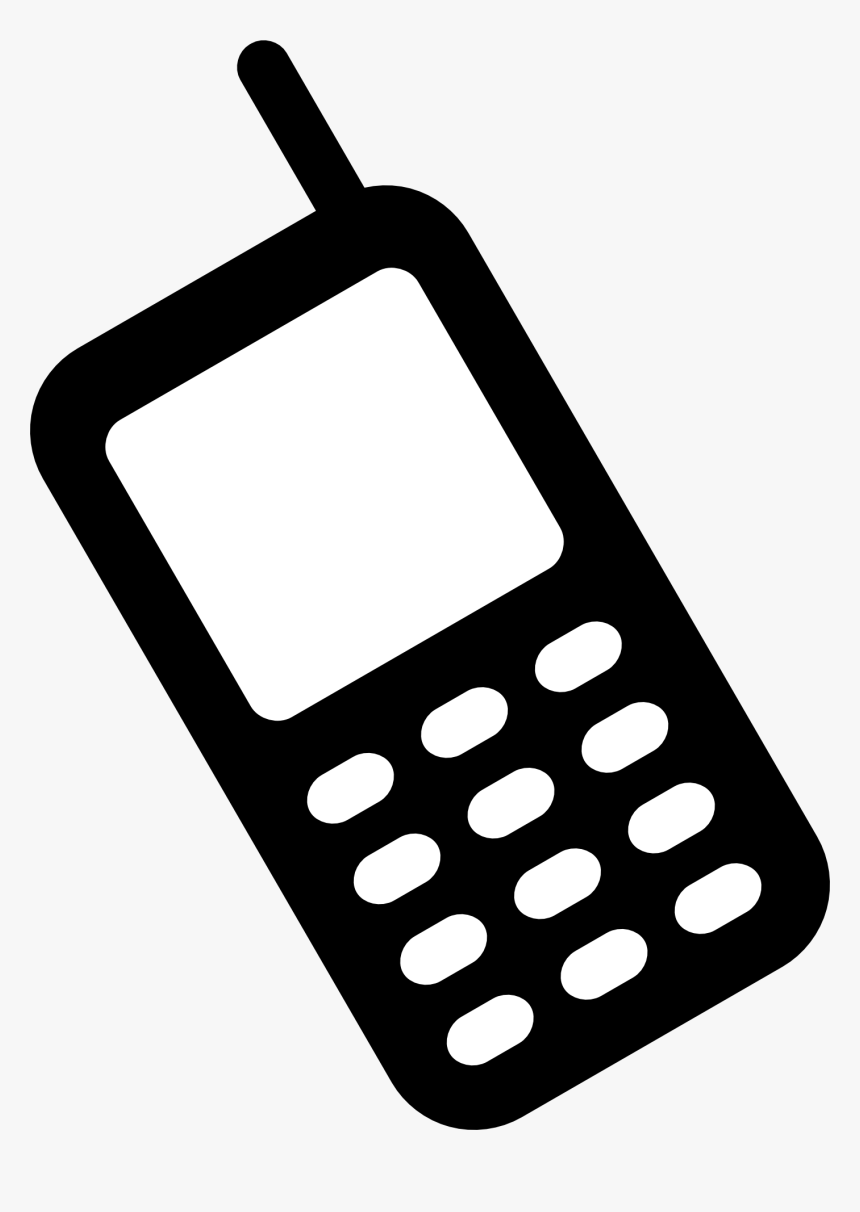 Phone Cell Clipart Black And White Mobile Transparent - Mobile Phone Black And White, HD Png Download, Free Download