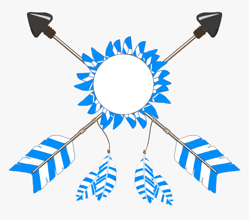 Crossed Tribal Arrows Blue Feathers - Crossed Arrows Clip Art, HD Png Download, Free Download