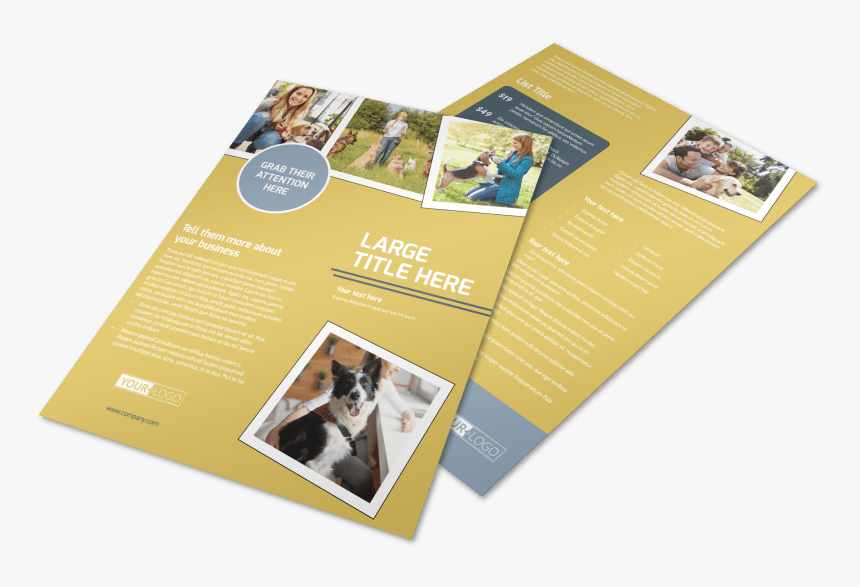 Dog Obedience Club Flyer Template Preview - Flyer, HD Png Download, Free Download