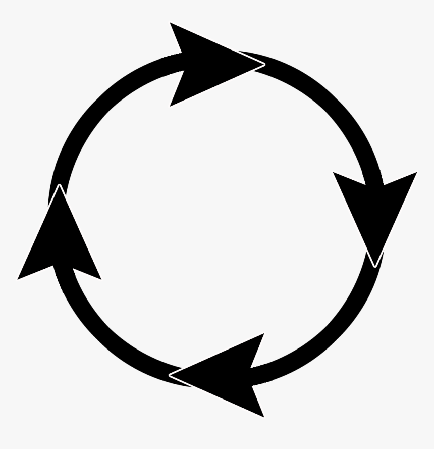 Black Curved Arrow Frame - Circle With Arrows Png, Transparent Png, Free Download