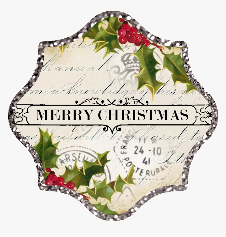 Silver Glitter Border ~ Approx - Vintage Christmas Tag Clipart Png, Transparent Png, Free Download