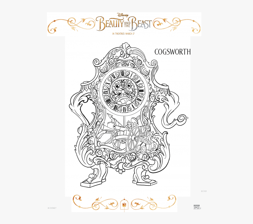 Beauty And The Beast Coloring Page-, HD Png Download, Free Download