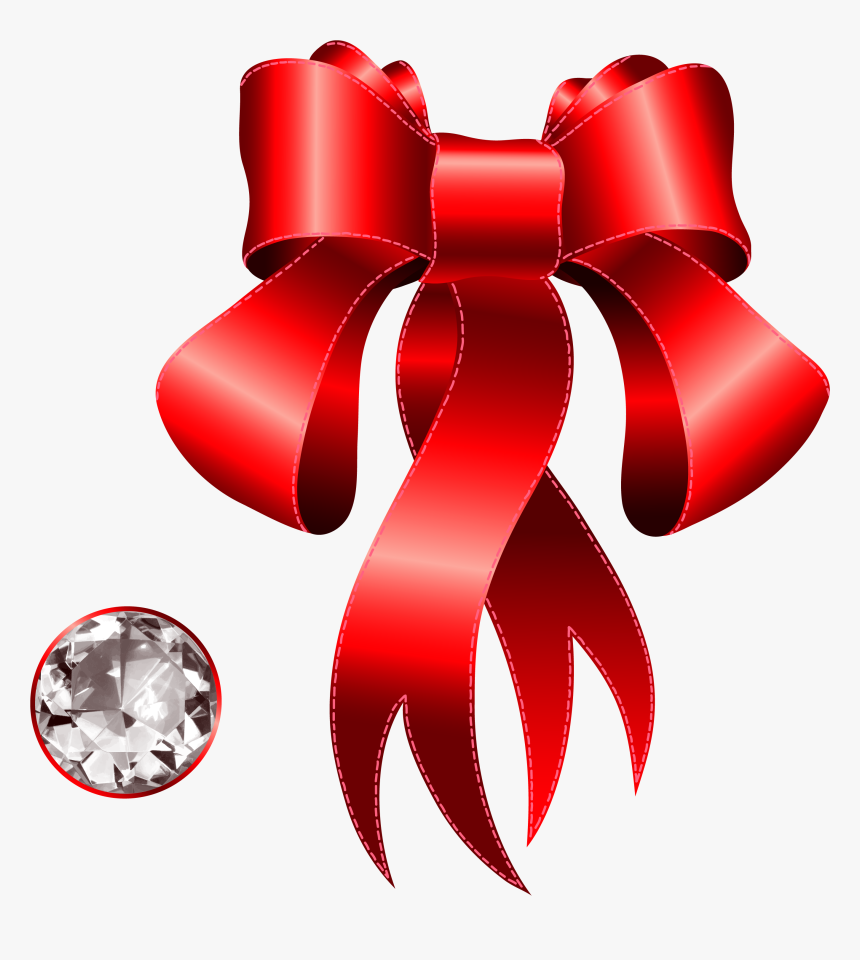 Red Bow With Diamond, HD Png Download, Free Download