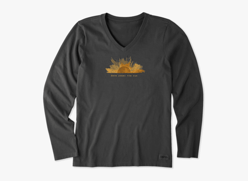 """Women""""s Here Comes The Sun Engraving Long Sleeve Crusher - Life Is Good, HD Png Download, Free Download"""