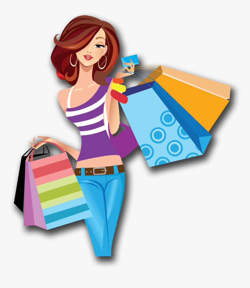Shopping Cartoon Women Png Image High Quality Clipart - Shopping Woman Png, Transparent Png, Free Download