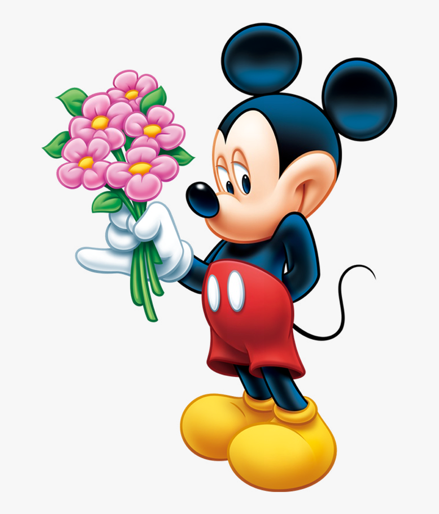 Mickey Mouse - Mickey Mouse With Flowers, HD Png Download, Free Download