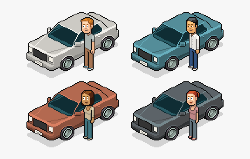 Clip Art Illustration Design Cars Free - Car Isometric Pixel Art, HD Png Download, Free Download