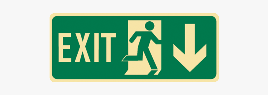 Brady Glow In The Dark And Standard Floor Exit Symbol - Exit Sign Right Arrow, HD Png Download, Free Download