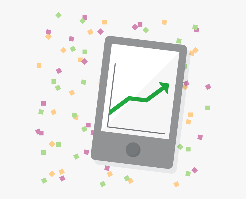 "Ipad Displaying Line Graph With New Year""s Confetti, HD Png Download, Free Download"