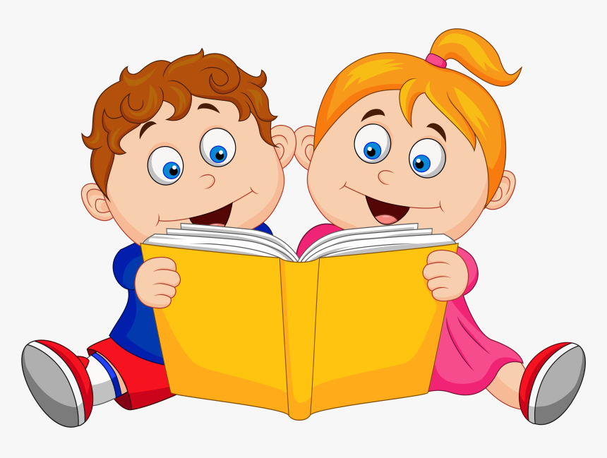 Children Reading Bookscartoongoogle - Girl And Boy Reading Book Clipart, HD Png Download, Free Download