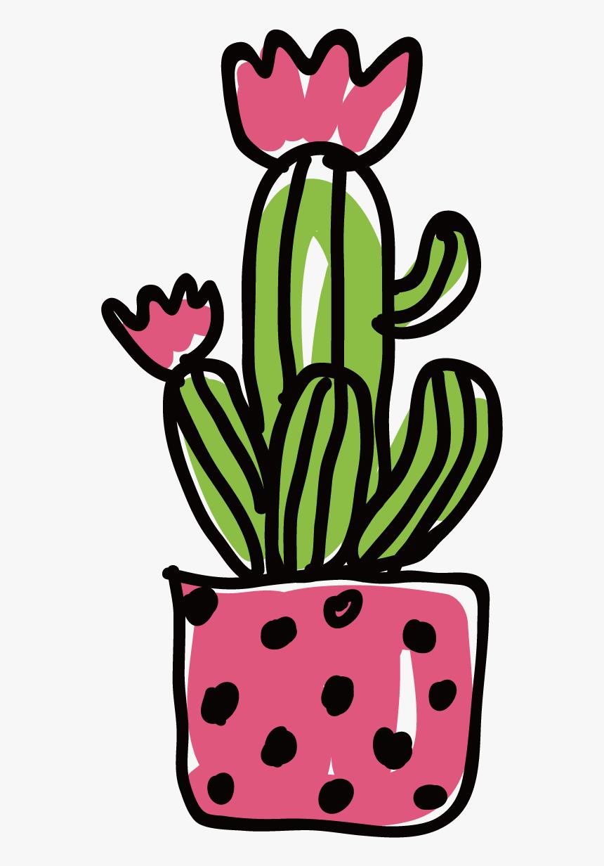 Ftestickers Clipart Flower Succulent Cactus - Cactus Flower Illustration Png, Transparent Png, Free Download