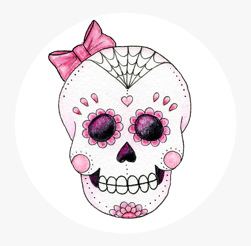 Transparent Skull And Crossbone Clipart - Pink Sugar Skull Bow, HD Png Download, Free Download