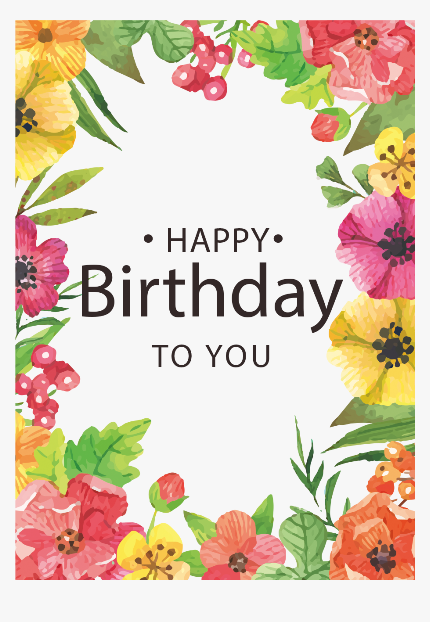 Clipart Flowers Happy Birthday - Happy Birthday Flowers Card, HD Png Download, Free Download