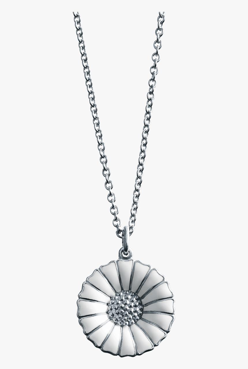 Rhodinated Sterling Silver With White Enamel - Georg Jensen Marguerit Halskæde Sølv, HD Png Download, Free Download