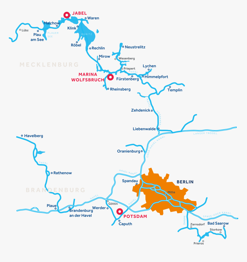 Mecklenburg And Brandenburg Region Map - Flüsse Mecklenburgische Seenplatte, HD Png Download, Free Download
