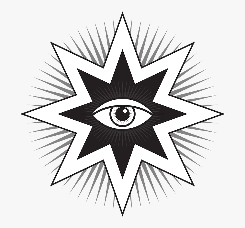 All Seeing Eye, Eye, Symbol, Sign, Pyramid, Illuminati - 8 Pointed Star With Eye, HD Png Download, Free Download