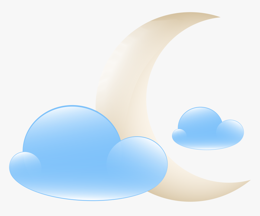 Transparent Cloud Clipart - Moon With Clouds Clipart, HD Png Download, Free Download