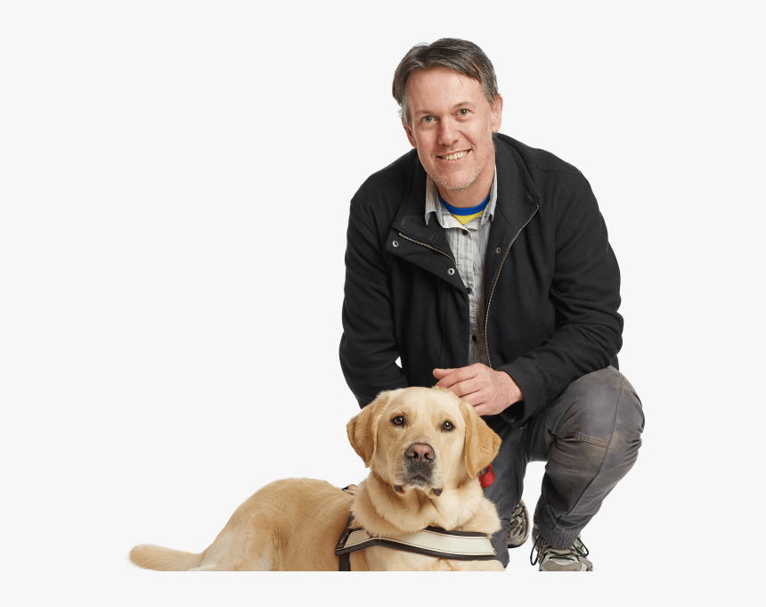 Man Kneeling With Guide Dog - Dog And Man Png, Transparent Png, Free Download