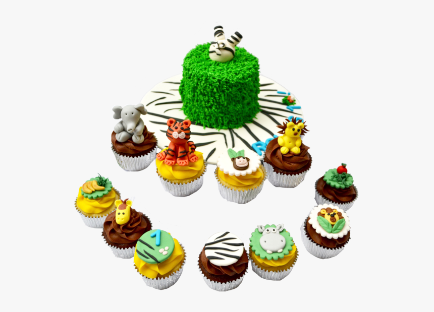 Zebra Into The Cake Cake, With Animal Cupcakes For - Safari Cupcakes, HD Png Download, Free Download