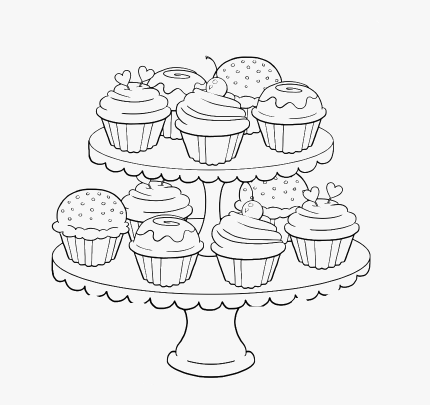 Great Happy Birthday Cupcake Coloring Pages - Coloring Pages For Adults Food, HD Png Download, Free Download