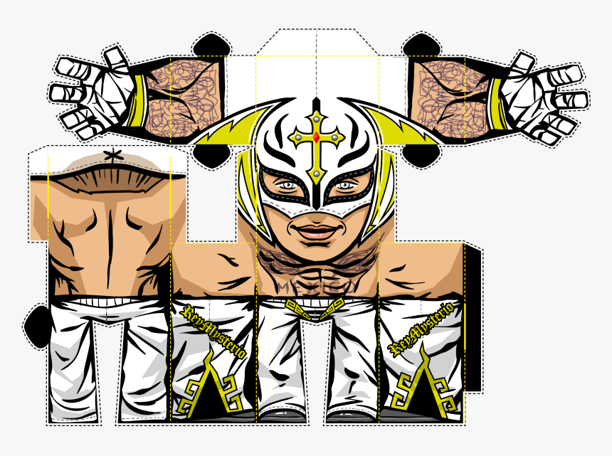 Wwe Belt Drawing - Rey Mysterio Papercraft, HD Png Download, Free Download